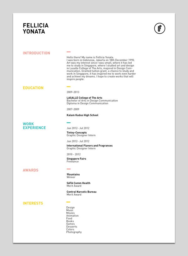 My Resume By Fellicia Yonata Via Behance
