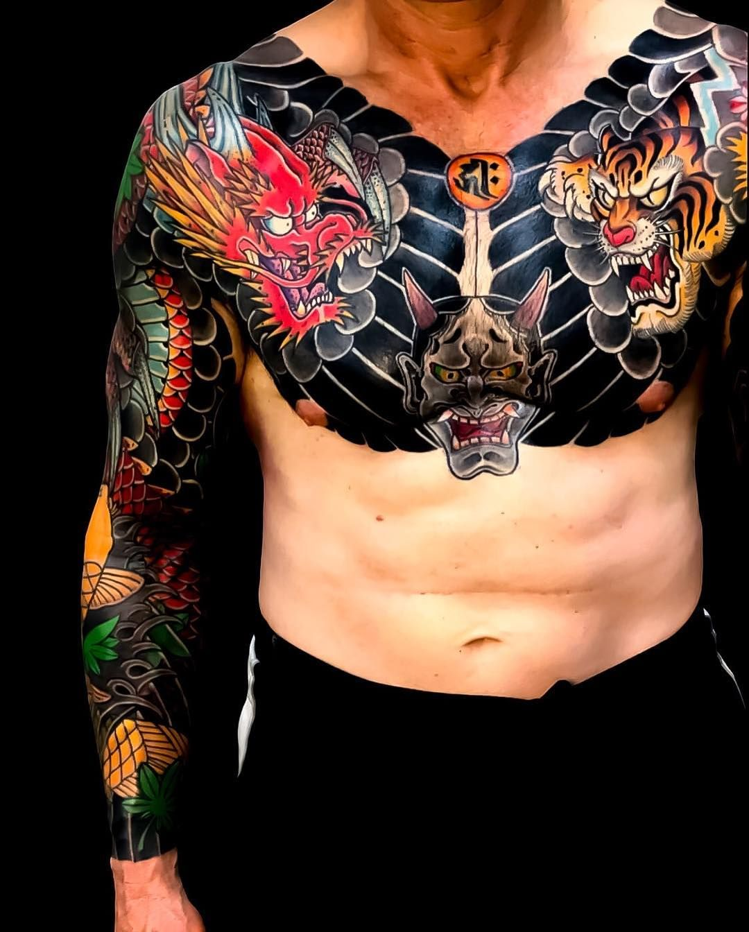 Japanese sleeve and chest tattoos by soutattoo