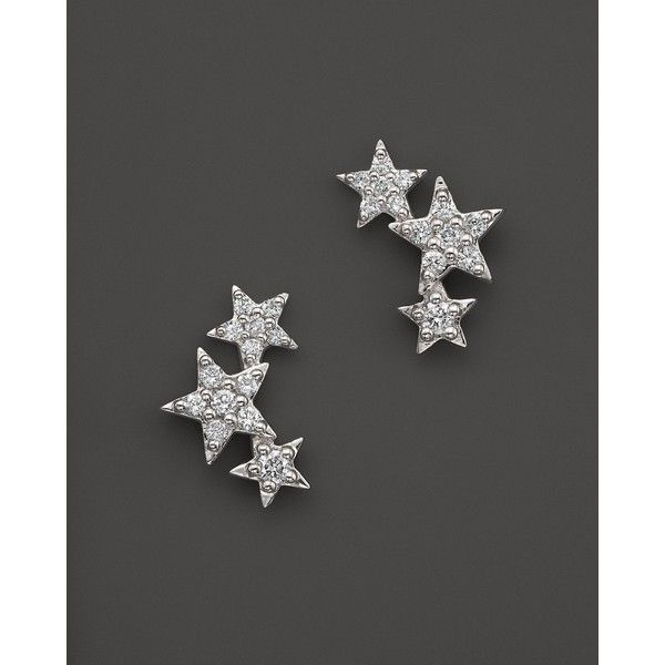 Diamond Star Stud Earrings in 14K White Gold, .20 ct. t.w. ($1,565) ❤ liked on Polyvore featuring jewelry, earrings, star jewelry, star stud earrings, 14 karat white gold earrings, white gold jewelry and 14k stud earrings