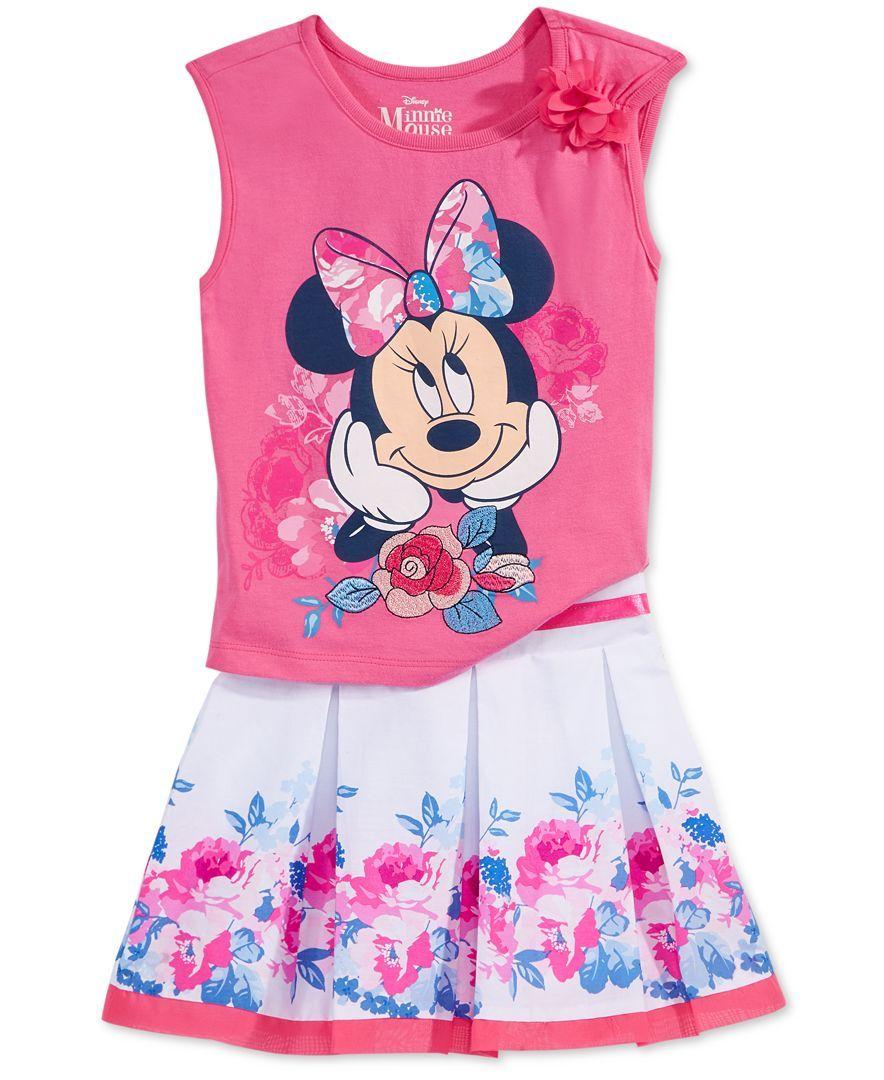 f940e37b5 Disney's Minnie Mouse 2-Pc. Sleeveless T-Shirt & Scooter Skirt Set, Toddler  & Little Girls (2T-6X)