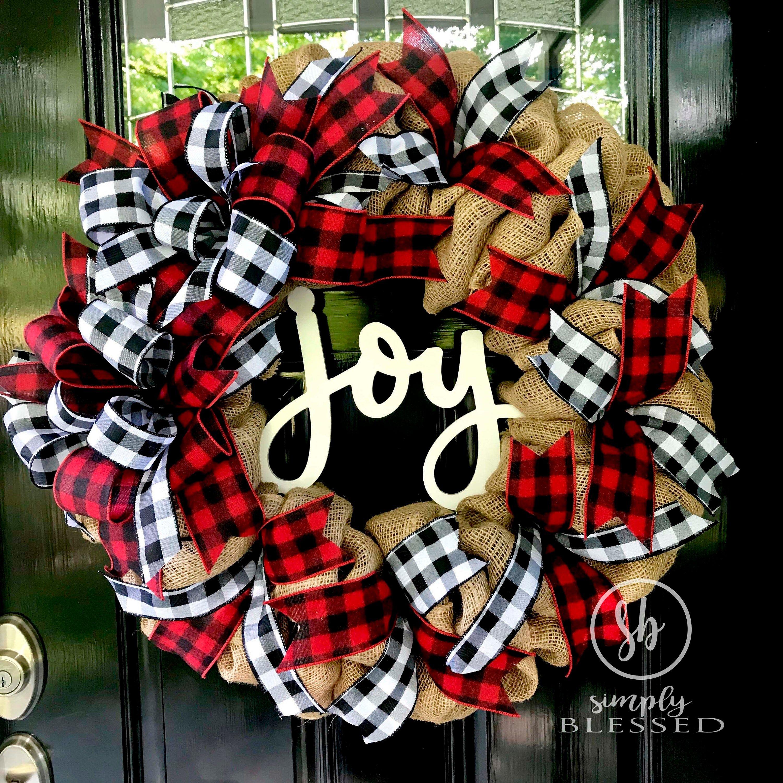Farmhouse christmas joy buffalo plaid burlap wreath as