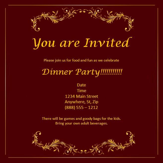 Free Wedding Anniversary Invitation Cards Templates Dinner
