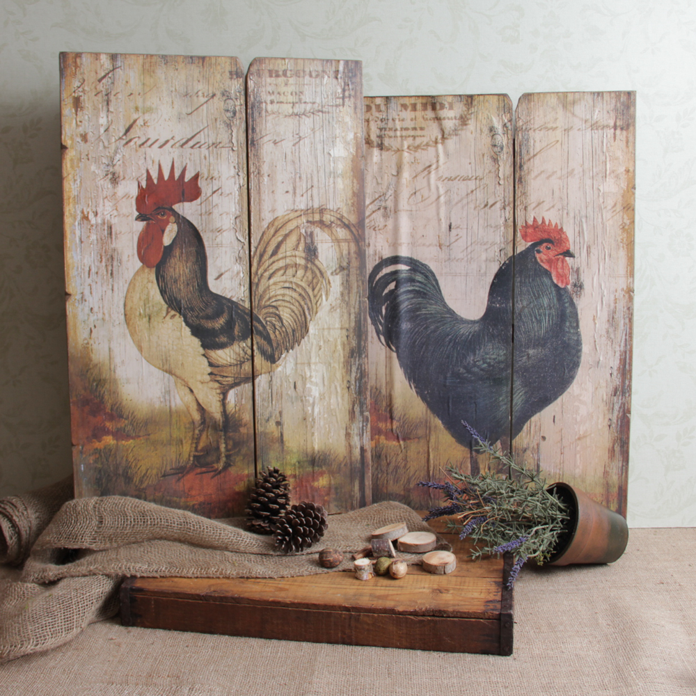 Country Wall Art photo rooster-panels | roosters and chickens | pinterest