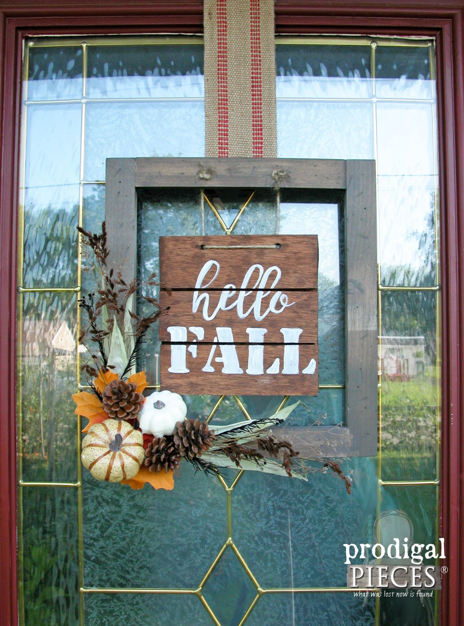 Create this Hello Fall Sign for your Front Door by Prodigal Pieces…