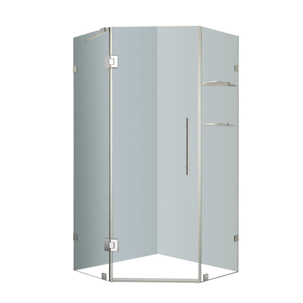 Neoscape 34-Inch x 34-Inch x 72-Inch Frameless Shower Stall with ...