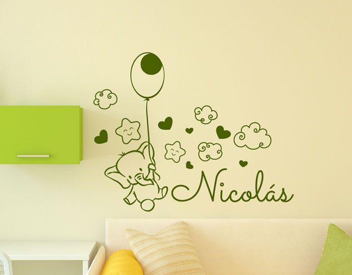 Vinilos infantiles nombre beb personalizados para la - Vinilos personalizados pared ...