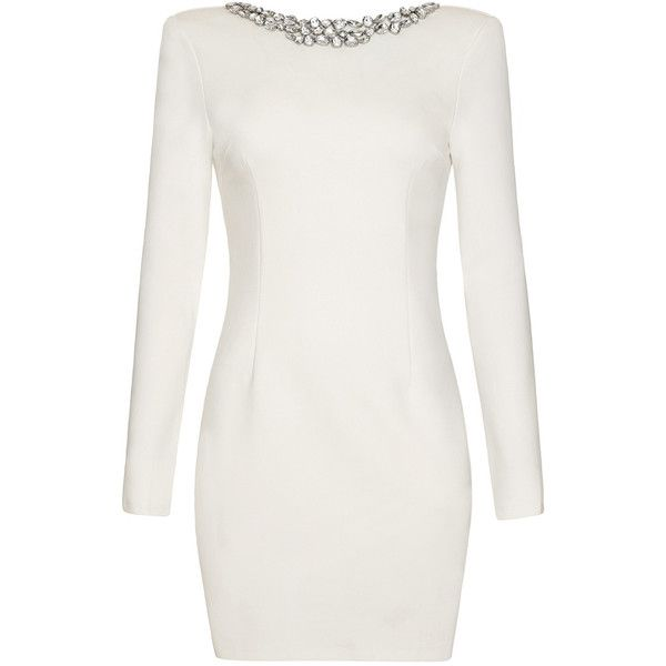 Gwyneth White Fitted Dress With Long Sleeves Evening Wear Dresses Tight Long Sleeve Dress Long Sleeve Fitted Dress