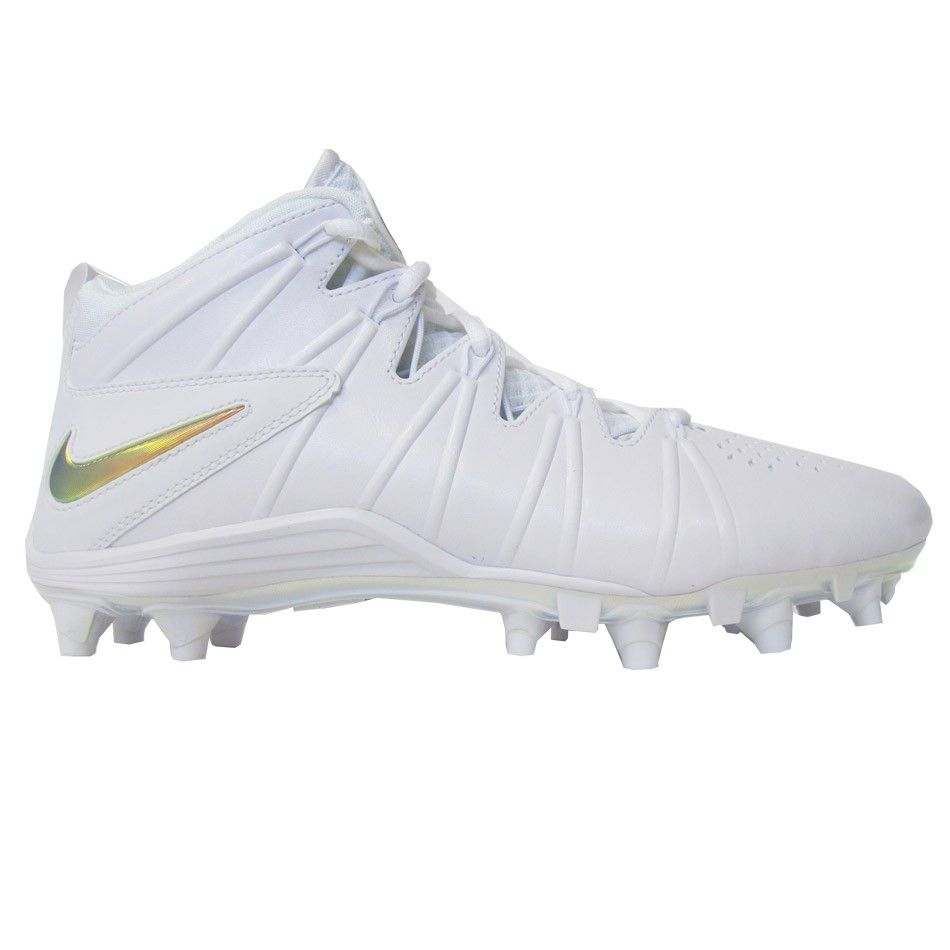 63cc6b16c ... Lacrosse Shoes White LacrosseUnlimited Nike Huarache 4 LE Cleats- White  Silver ...