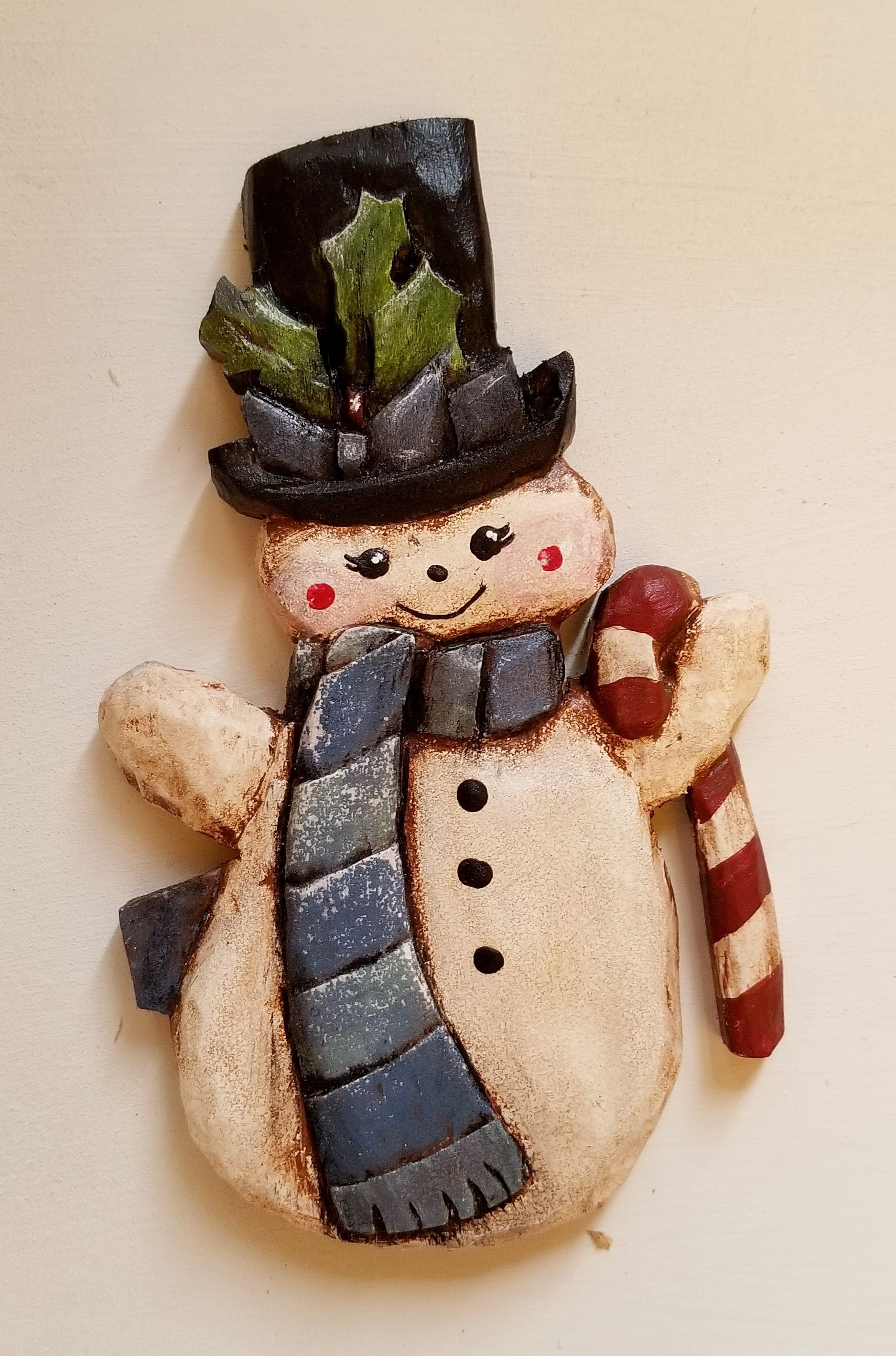SOLD Handcarved snowman ornament based off a vintage