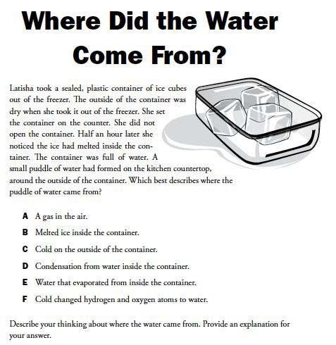 HereS A Formative Assessment Probe On How Water Forms