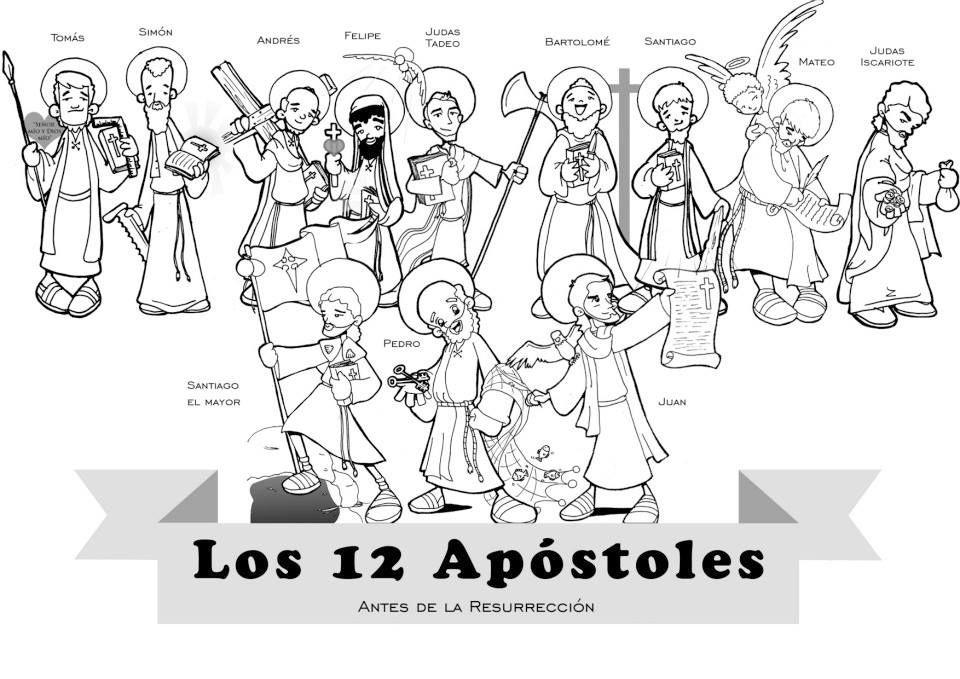 Los 12 Apóstoles antes de la Resurrección, para pintar. | Nuevo ...