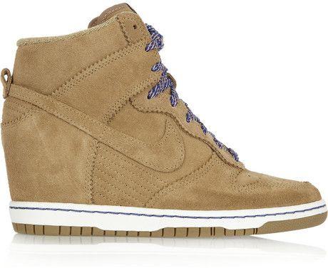 hot sale online d107d bbff8 nike high top wedge sneakers   Nike Dunk Sky Hi Suede Wedge Sneakers in  Brown (bamboo) - Lyst