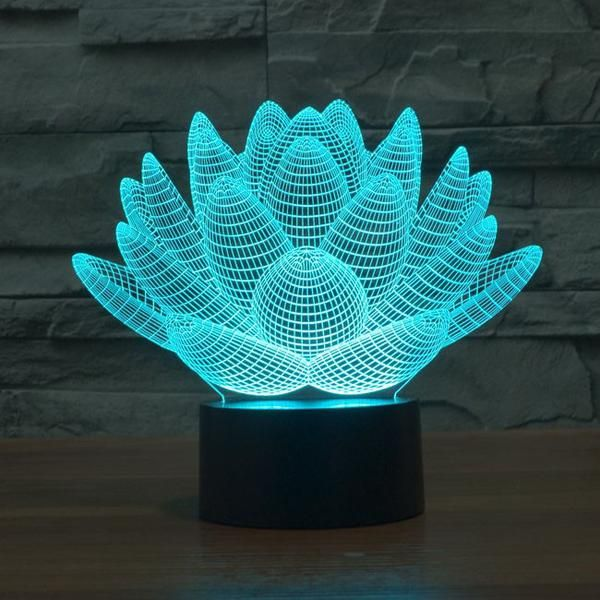 3d Effect Lotus Color Changing Touch Lamp Decorative Night Lights Color Optical Illusions 3d Illusion Lamp