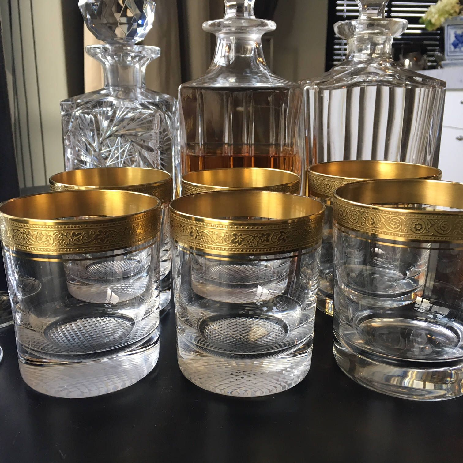 Pin Op Vintage Bar Cart Barware Dinnerware Crystal Glassware