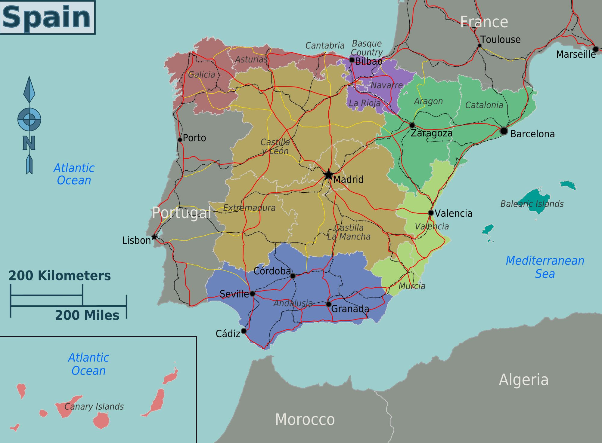 carte regions espagne couleur. | 2018 Travel Ideas and Tips