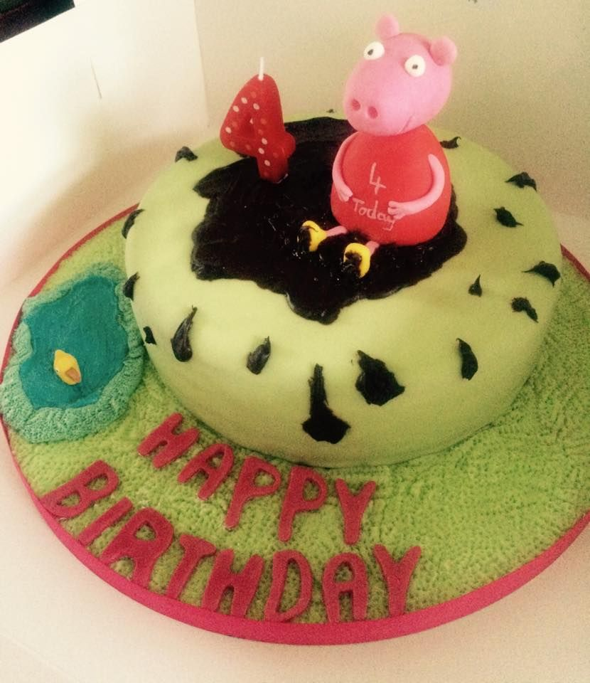 MyGoodness Vegan birthday cake Peppa pig jumping in muddy puddles