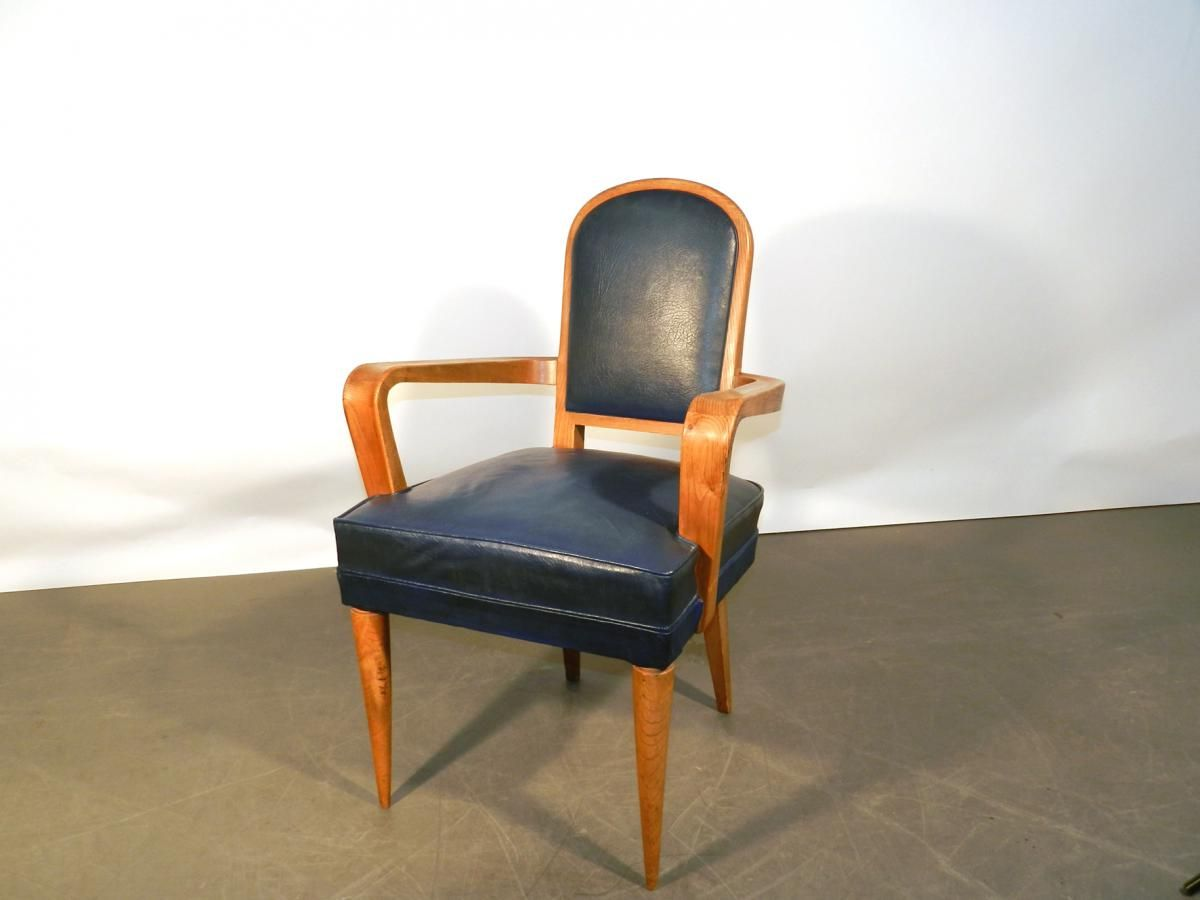 Artdeco Deskchair In Oak Covered With A Vintage Electrical Blue Leatherette Circa 1940 1950 For Sale On Proa Art Déco Intérieur Art Déco Meuble De Style