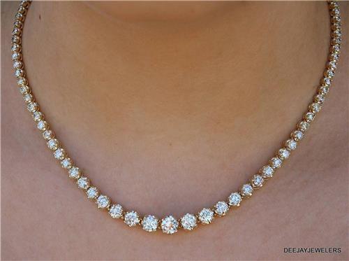 20ct Graduated Diamond Tennis Necklace 14k Yellow Gold 11 Main Ballroom Necklace Diamond Tennis Necklace Diamond