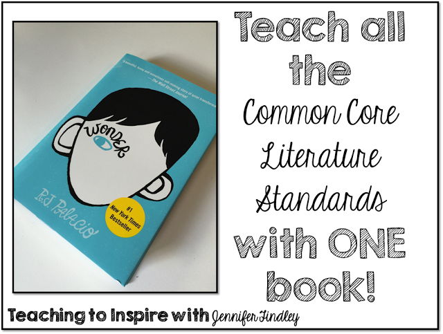 Read this post to learn how to teach all the Literature Common Core Standards with one book, Wonder.