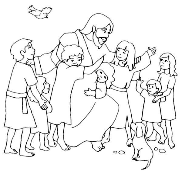 Jesus Loves Children And Jesus Love Me Coloring Page Sunday