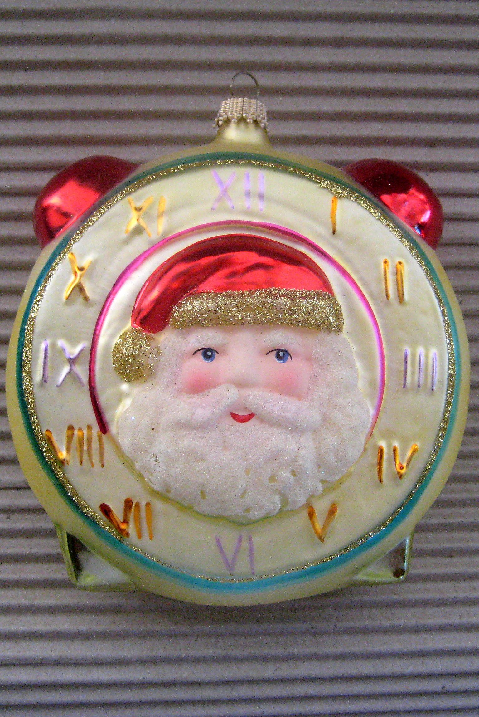 Vintage Germany Blown Glass Christmas Tree Santa Clock: vintage glass christmas tree ornaments