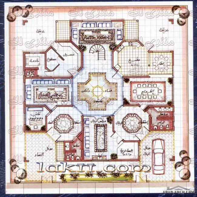اروع مخطط فيلا 20م 20م بفناء داخلى واجنحه منفصلة للنساء Drawing House Plans Model House Plan House Layout Plans