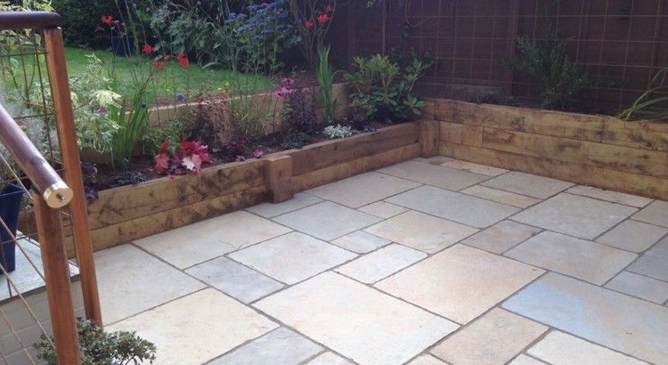 pavings yellow limestone natural stone paving looks great in this garden made a nice patio area - Stone Slab Canopy Decoration