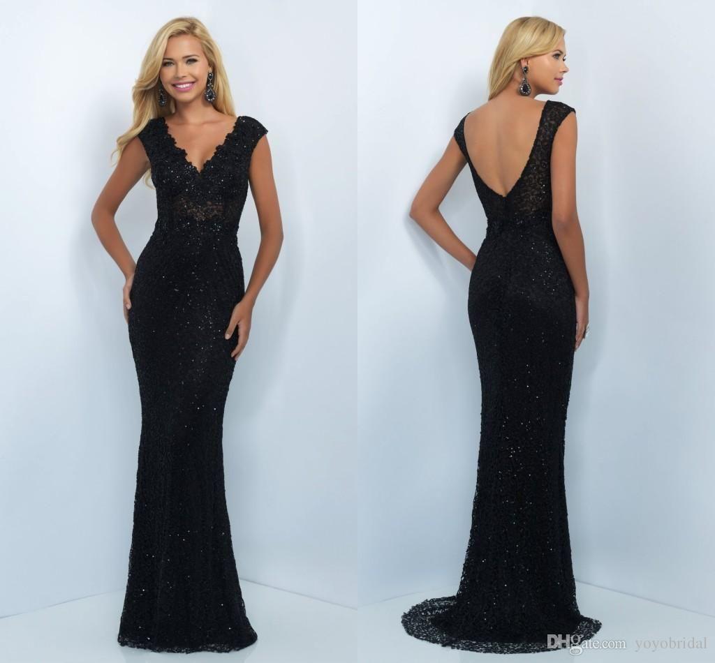 Vintage long sleeve prom dress with front side split v neck