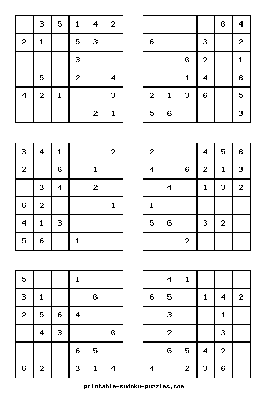 Zany image intended for 6x6 sudoku printable