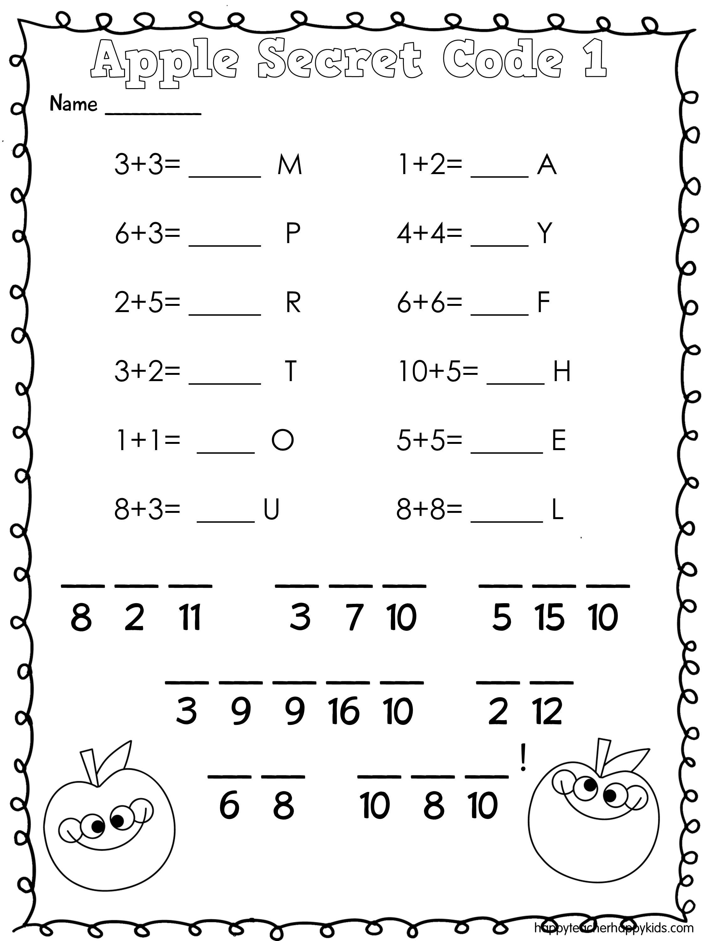 Apple Math Secret Code Apples Firstgrade Kindergarten
