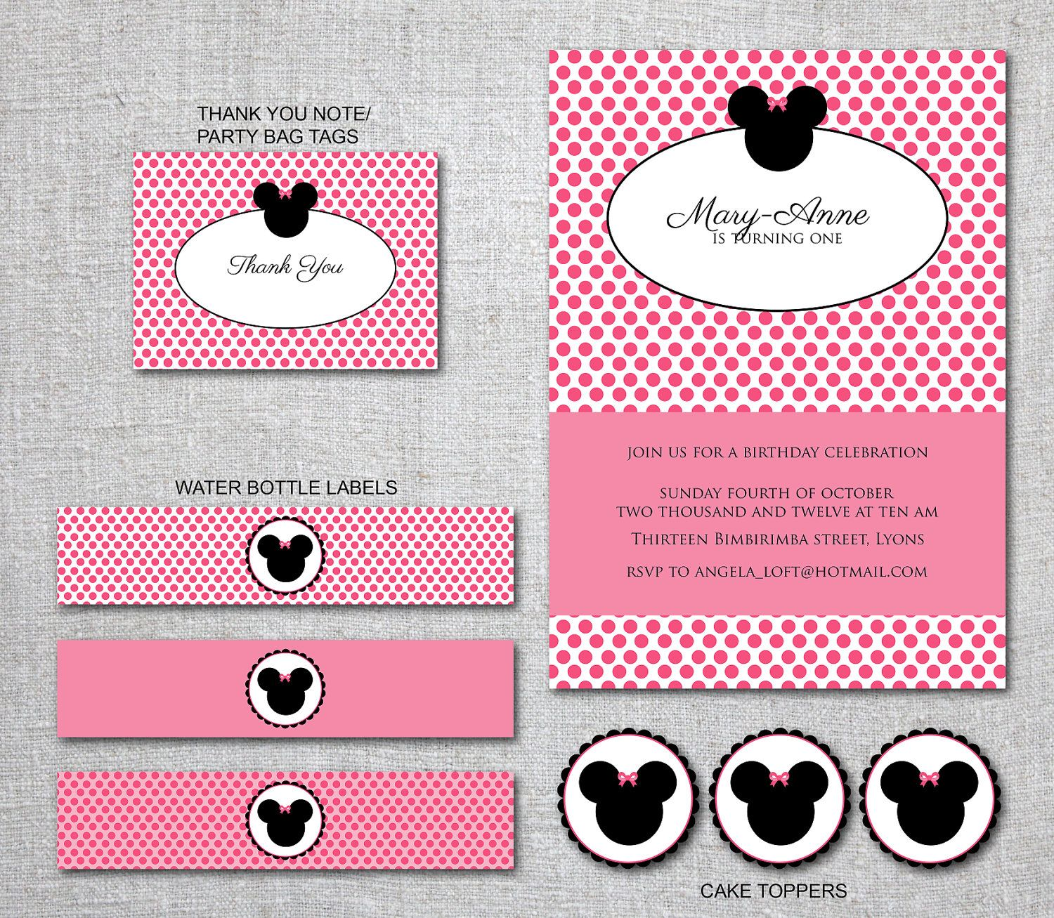 Kids Birthday Invitation MINNIE MOUSE Set Party Decorations Thank ...
