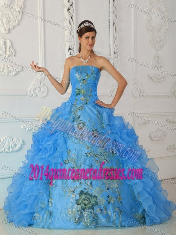 af15f8cd5c5 Timeless Embroidered Ruffled Aqua Blue Sweet 15 Dress in Taffeta Organza. Exquisite  Strapless Embroidered Quinceanera Gown ...