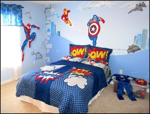 Vintage Comic Book Superhero Theme Bedroom Superheroes