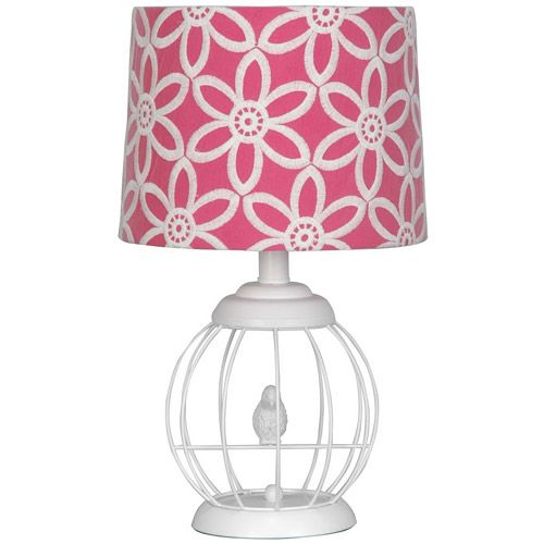 Lamp Shades At Walmart Stunning Your Zone Bird Cage Lamp With Floral Pink And White Shade Decor Design Ideas