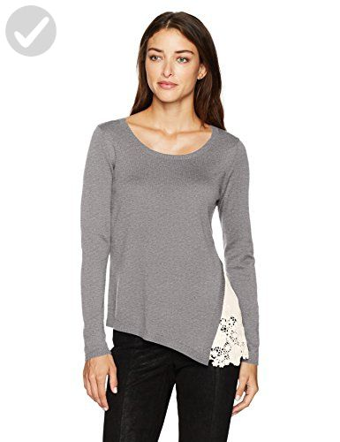 Kensie Women s Soft Sweater with Eyelet Lace Side 53e8fa896