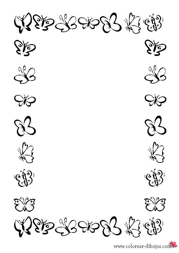 Bordes De Mariposas Para Imprimir   hojas   Mariposas para ...