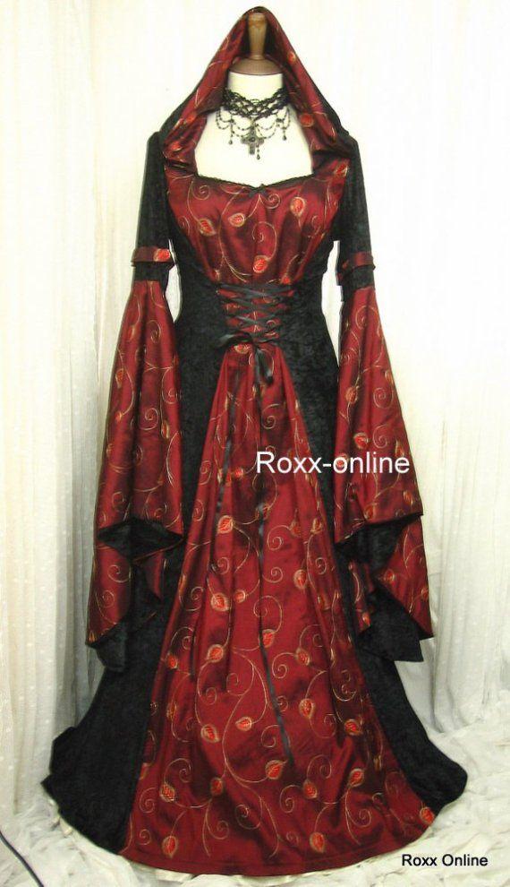 Medieval pagan HOODED wedding prom dress gown LOTr by RoxxOnline ...