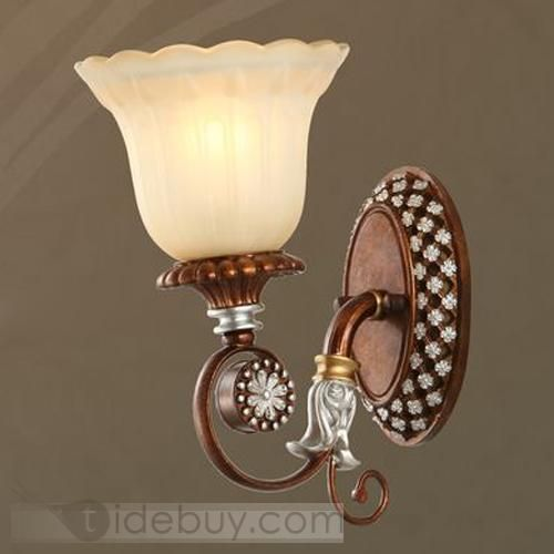 Exquisite Embossed Antique Wall Lights with 1 Light