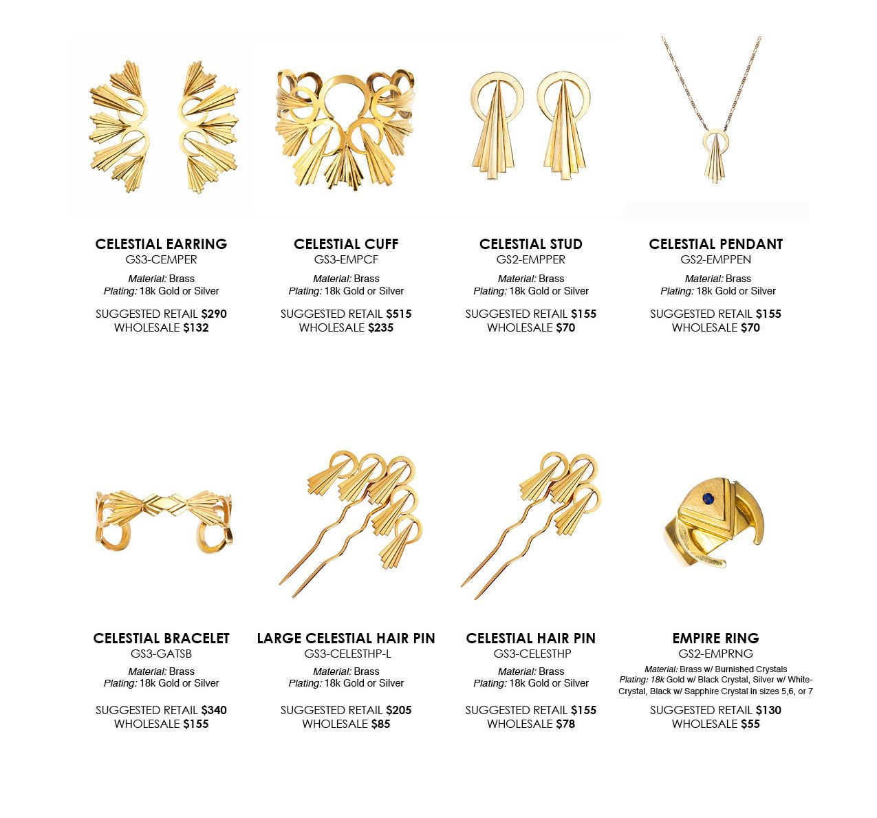 jewelry line sheet - Template