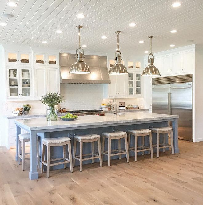 White Kitchen Oak gorgeous kitchen with wide plank white oak flooring | kitchen