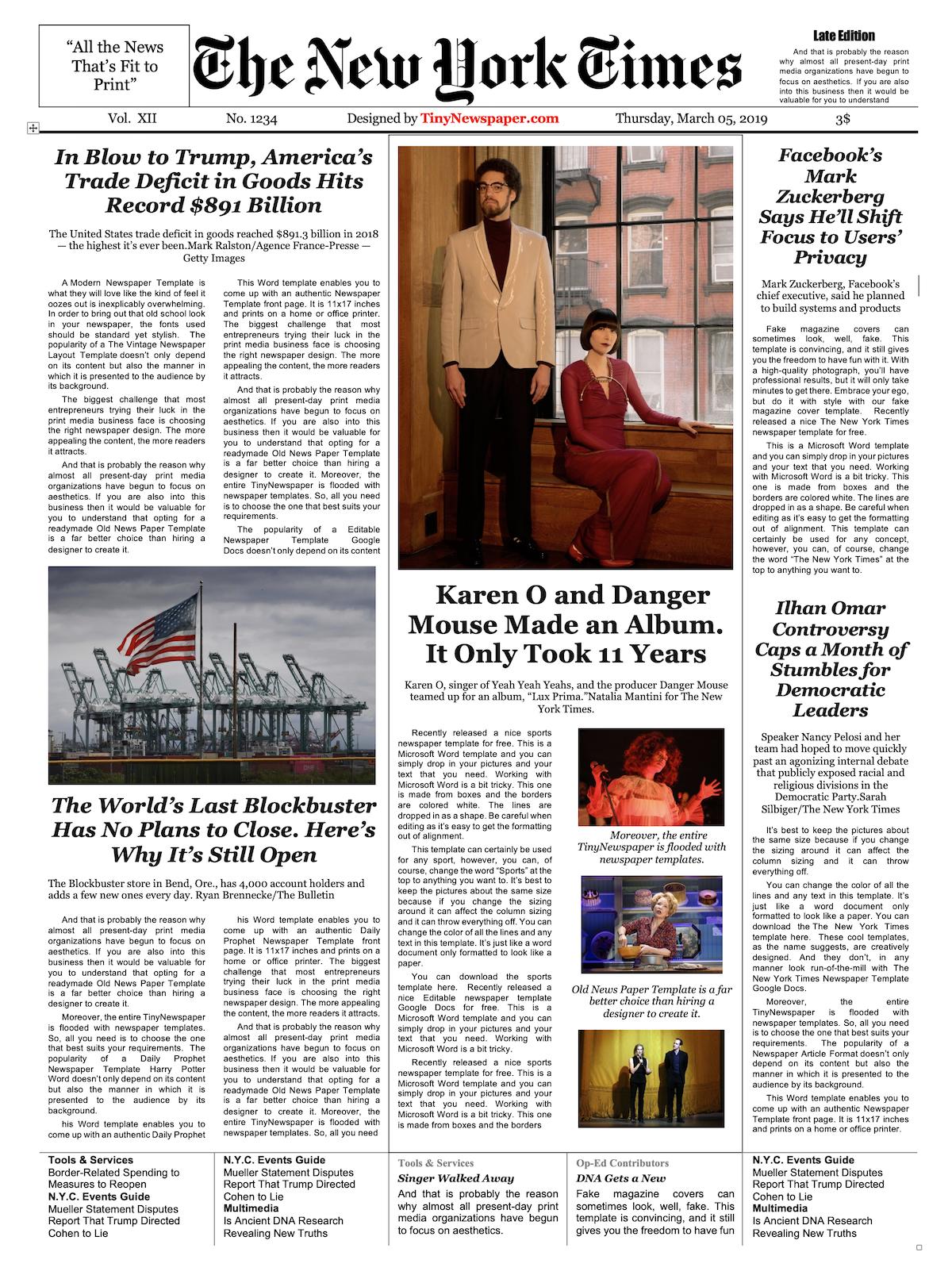 Editable Newspaper Template - Portrait