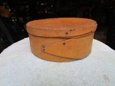 """Small 19Th C Harvard Lapped Pantry Box Mustard Paint 7"""" AAFA"""