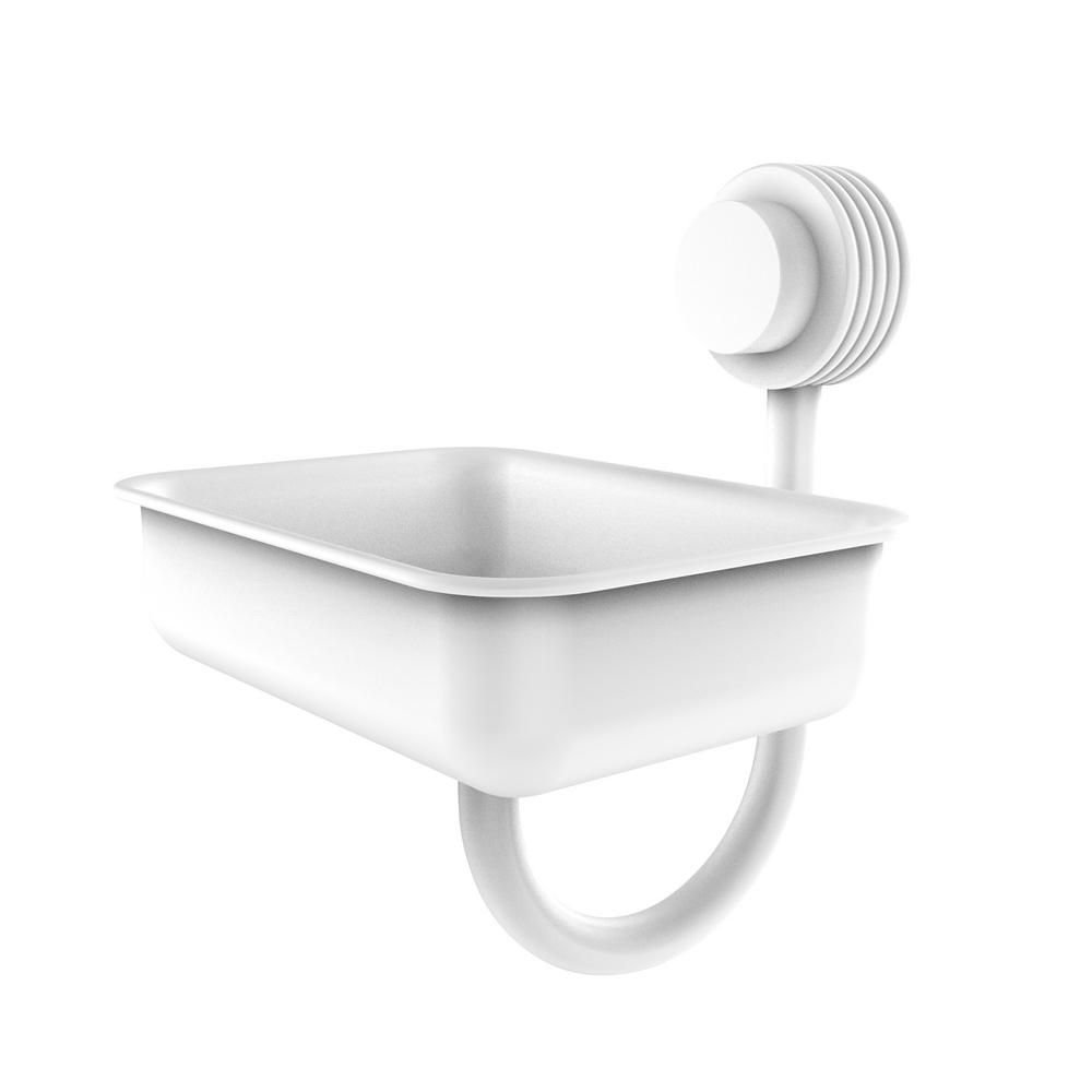 Allied Brass Venus Wall Mounted Soap Dish With Groovy Accents In Matte White 432g Whm The Home Depot In 2020 Allied Brass Lotion And Soap Dispensers Dish Soap