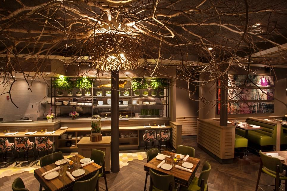 Nature Inspired Restaurant With Tree Branch Ceiling