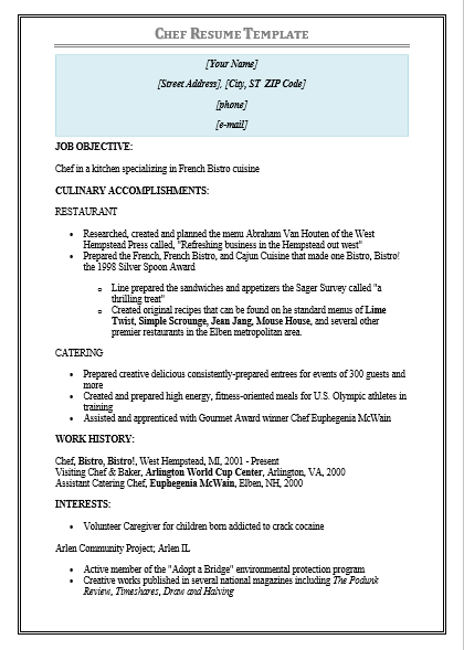 13 Chef Resume Templates Free Printable Word Pdf Samples