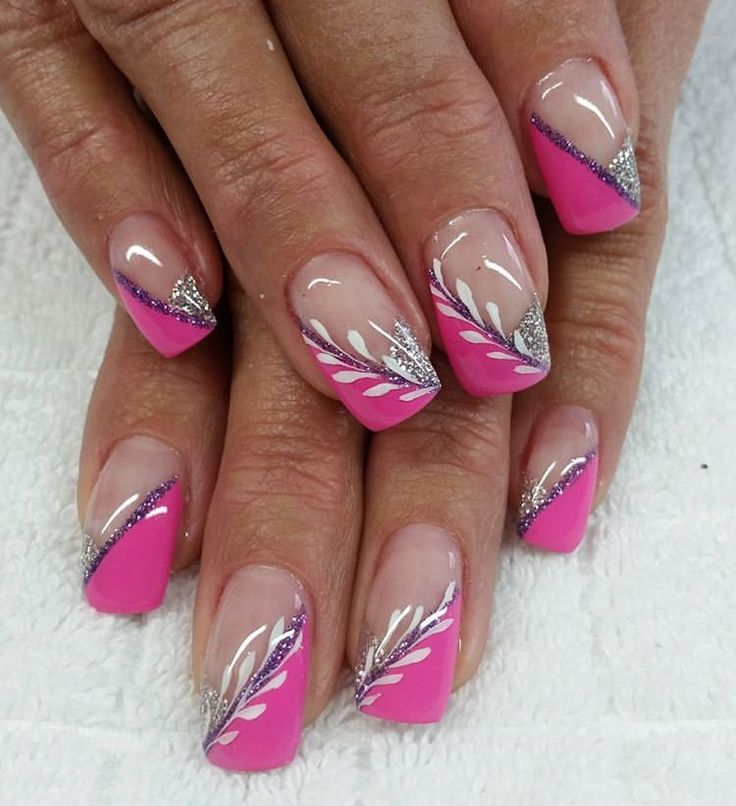 # fingernails # gel nails # pink # glitter # flourishes #NAILDESIGNS # – Today Pin