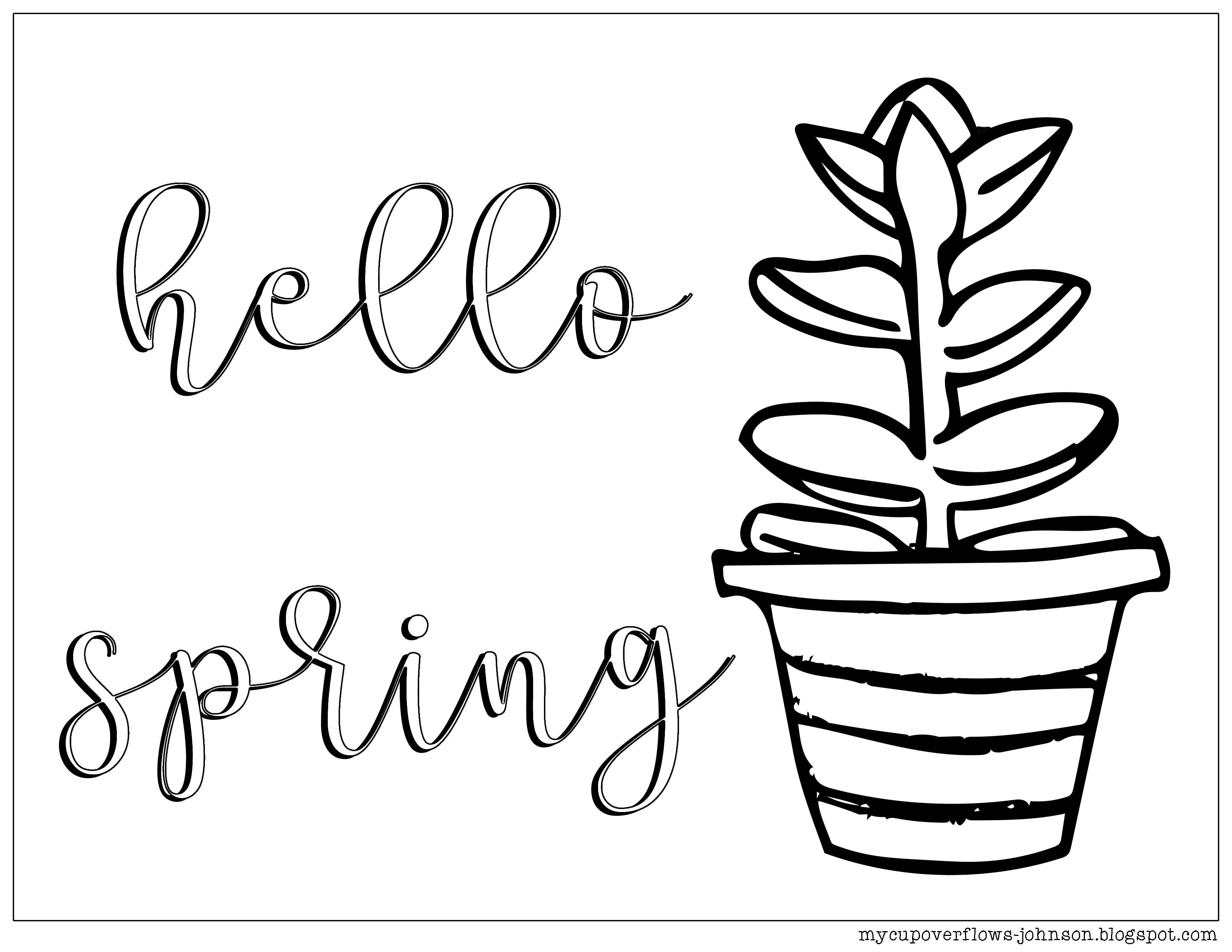 Coloring Fun Hello Spring Hello Spring Spring Coloring Pages