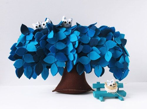 Image via We Heart It #blue #felt #homedecor #nature #owl #owls #tree