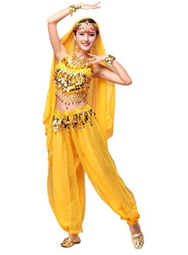 Beverly Ladys Chiffon Belly Dance Costume Set 3 Pieces yellow * Continue to the product at the image link.