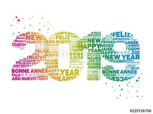 Vecteur : Carte de Vœux 2019 - Bonne Année - Happy New Year